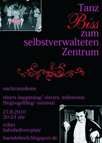 Tanz Biss zum selbstverwalteten Zentrum - Nachttanzdemo in Erfurt am 27. August